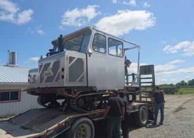 Cabine démontable pour le transport d'une foreuse, vue arrière droite